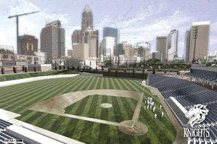 Rendering of Knight's Uptown stadium. Courtesy Charltotte Observer