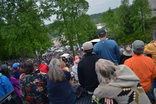 Festival goers crowd in to get a glimpse of Merlefest's Hillside Album Hour Concert, one of the most popular of the weekend.