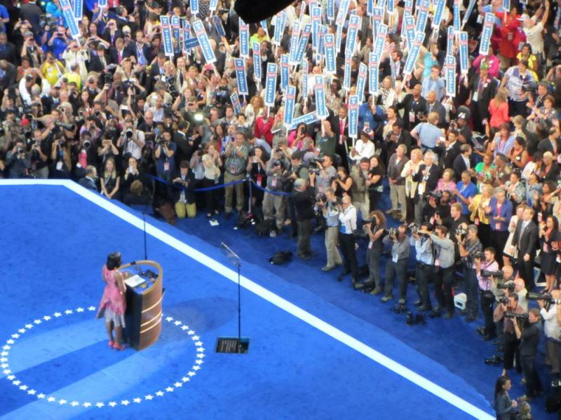 First Lady Michelle Obama gives her speech on the first day of the Democratic National Convention in Charlotte.