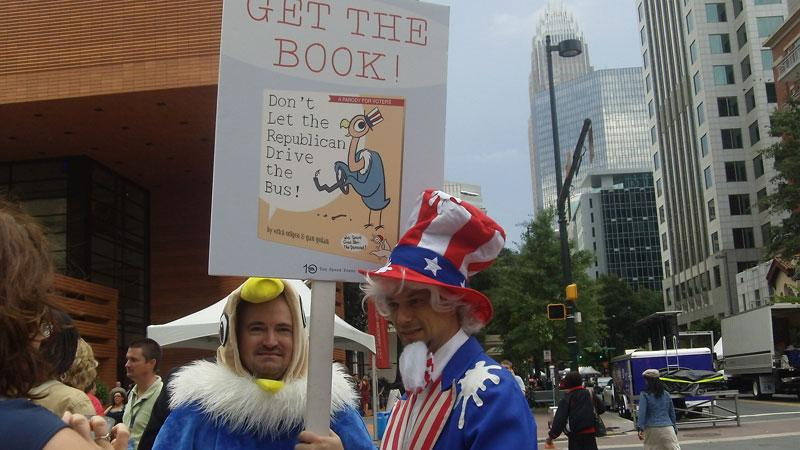 Uncle Sam (Gan Golan) and (Erich Origen) Vulture Capitalism promoting their new book, a parady of a children's book, in front of the Mint. Their previous book was called Goodnight Bush, The Adventures of Unemployed Man.
