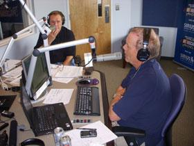 Sirius NASCAR Radio hosts Buddy Baker (far) and Rick Benjamin.  The Mayfield controversy has dominated racing talk shows lately.