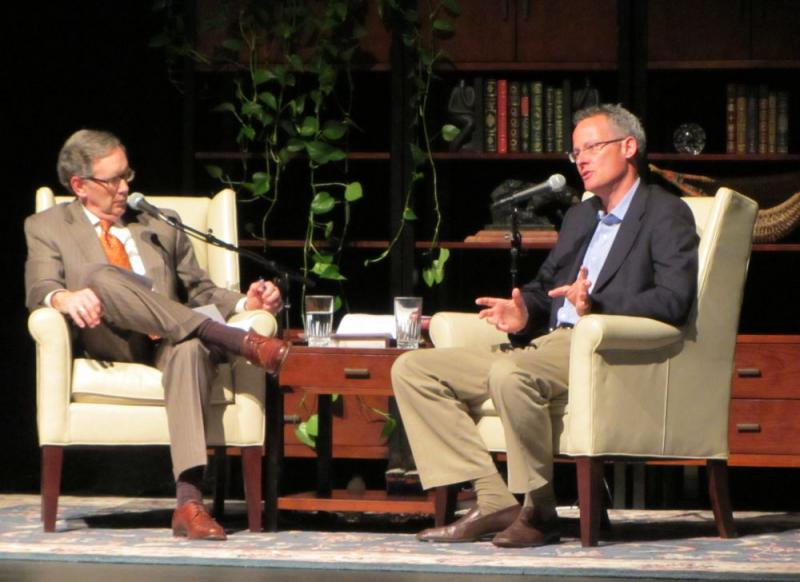 Mike Collins and Nicholas Carr on stage at Lenoir Rhyne University in Hickory, where the conversation was recorded in front of a live audience.