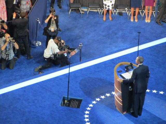President Obama accepts his party's nomination Thursday night at Time Warner Cable Arena.