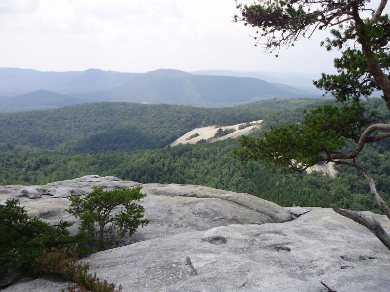 A view from near the summit of North Carolina's 600-foot Stone Mountain in Wilkes County