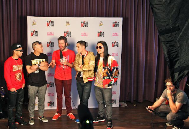 Perez Hilton and the band Far East Movement recorded segments for the Rock the Vote website up in the mezzanine of Mez.