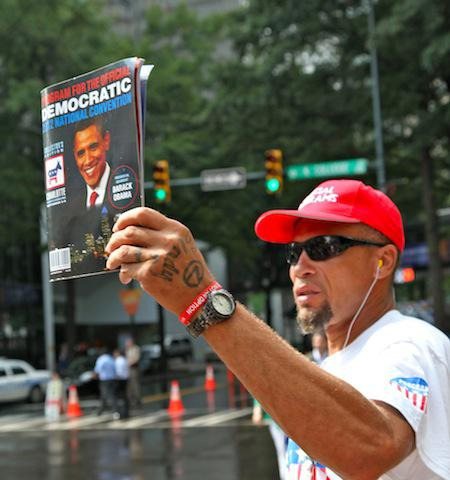 Along Charlotte's Uptown streets people are selling a variety of DNC related items.