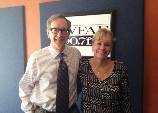 Kathy Reichs with Mike Collins in our Spirit Square studio.
