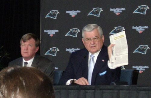 Panthers General Manager Marty Hurney (L) and owner Jerry Richardson
