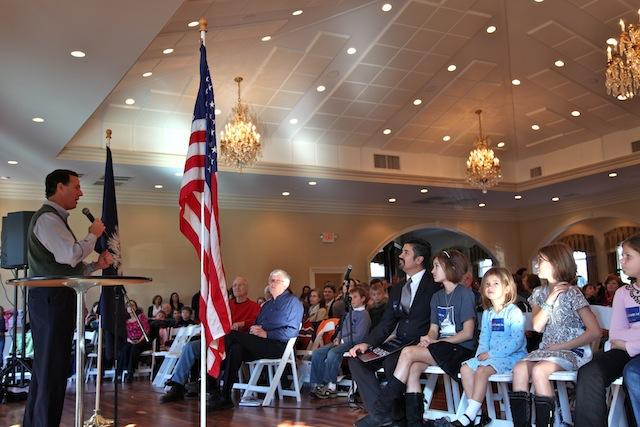 Rick Santorum held a town hall meeting at the Magnolia Room in the Laurel Creek subdivison of Rock Hill, South Carolina.