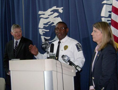 Mecklenburg County DA Andrew Murray, CMPD Chief Rodney Monroe and U.S. Attorney Anne Tompkins (L to R).