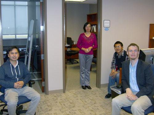 XiuXia Du's team of scientists at the North Carolina Research Campus. (L to R: Peter Pham, XiuXia Du, Wen Chao Zhang, Kyle