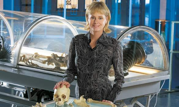 Kathy Reichs on the set of the TV show 'Bones,' that's based on her books.