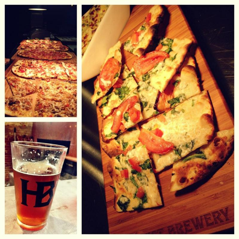 Food at Heist Brewery. The new brewery in NoDa features beer but also 'twisted American' cuisine like flatbread pizza with seared duck, fried shallots, mozzarella and root beer bbq.