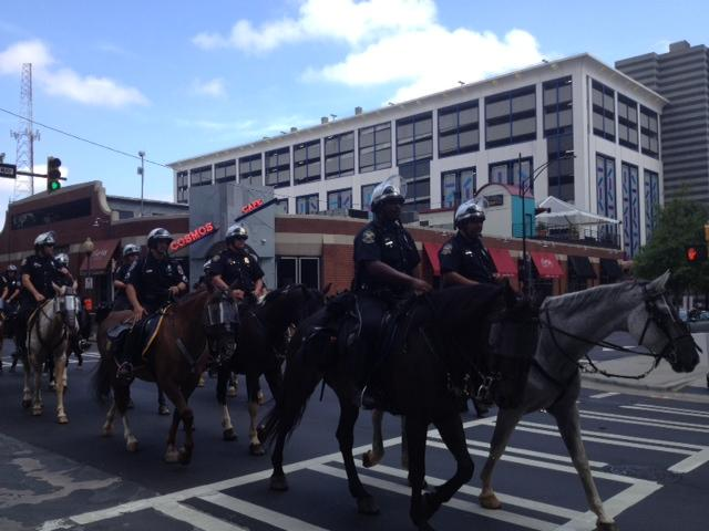 Police officers on horseback are a common sight.
