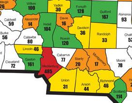 Numbers of sterilizations performed in area counties during the era of the NC Eugenics Board. Image courtesy of NC Sterilization