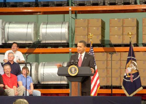 President Obama speaks to employees at Charlotte's Celgard plant.