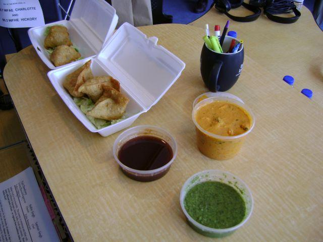 Samosas with tikka masala sauce, tamarind and mint chutneys in our Spirit Square studio.