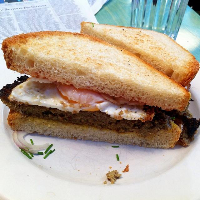 Livermush sandwich with fried egg, at a restaurant in Durham NC