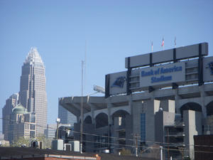 Bank of America Stadium sits in the shadow of the Bank of America corportate headquarters in Charlotte, NC. hspace=4