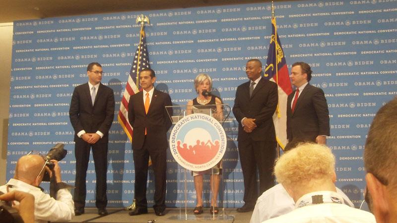 A press conference welcoming reporters to the DNC2012.