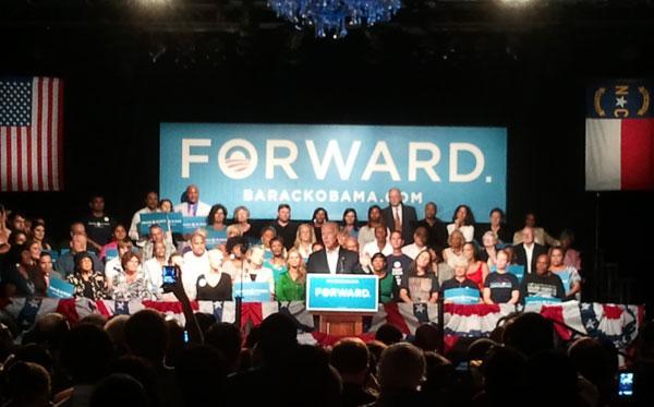 Vice President Joe Biden addresses supporters at The Fillmore in Charlotte.