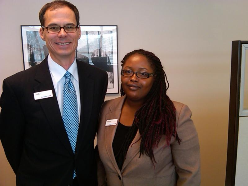 Bank of America Customer Assistance Center General Manager Audie Cashion (l) and loan modification specialist Saleena Whitley (r).