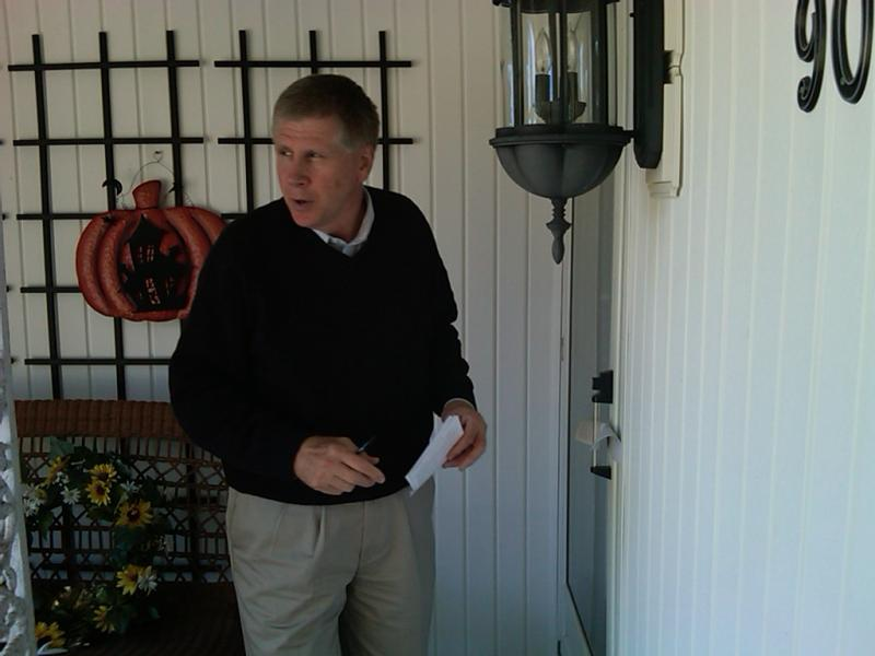Democrat Larry Kissell knocks on doors in a Lexington, NC neighborhood that is now part of the 8th Congressional District.