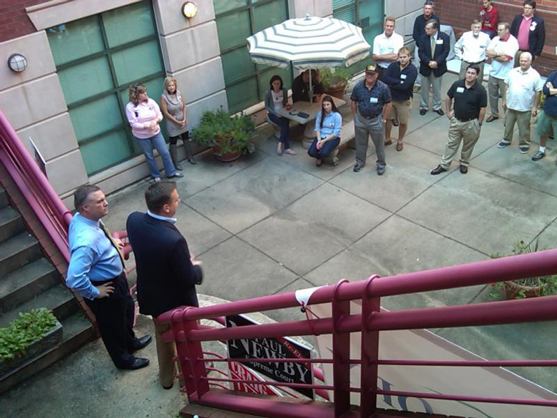 Rowan County Republican Party Chairman Greg Edds (l) and Republican NC-8 Candidate Richard Hudson speak to supporters.