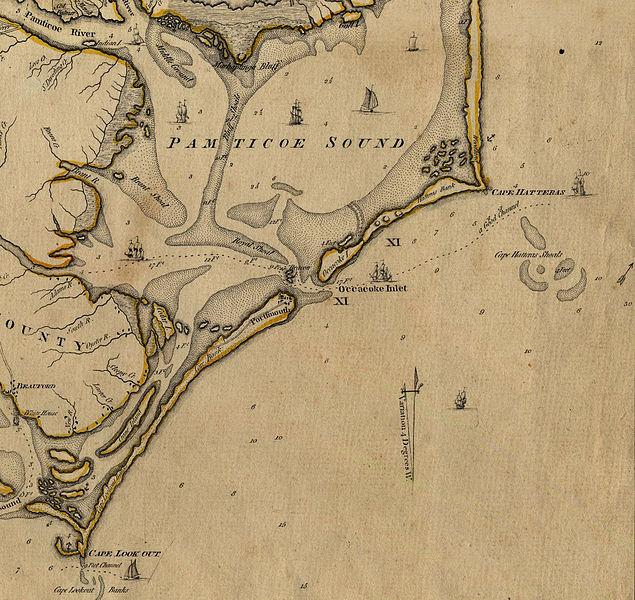A map of the area around Ocracoke Inlet, 1775