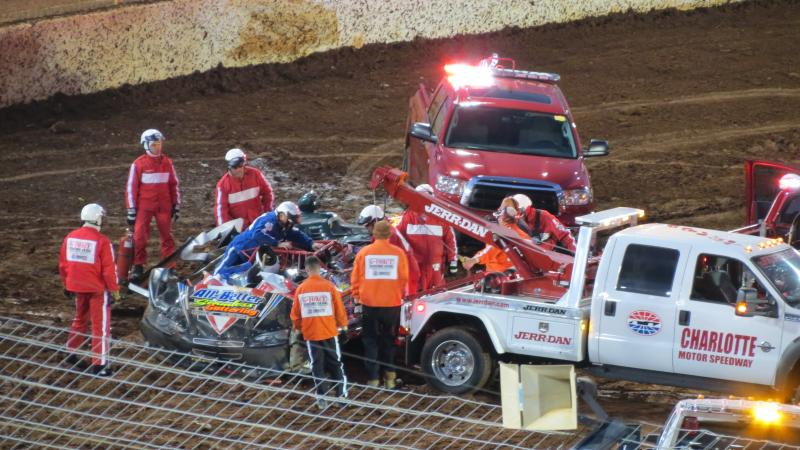 The third crash of the night at the Circle K Late Model Showdown led to a totaled car. The driver was able to get out safely.
