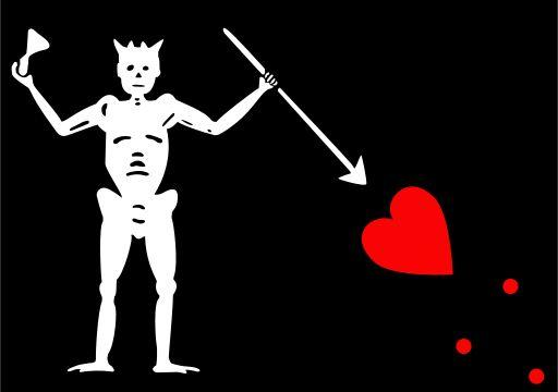 Edward Teach's (aka Blackbeard) flag depicted a skeleton spearing a heart, while toasting the devil. Flying such a flag was designed to intimidate one's enemies.