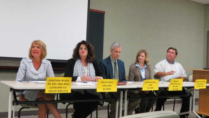 A panel of health officials and the fair manager spoke at the Cleveland County Health Department