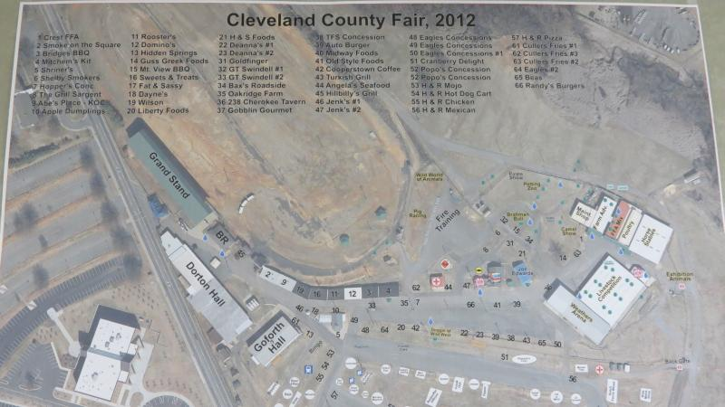 A map of the Cleveland County Fair Grounds.