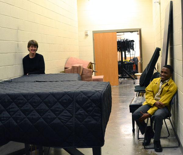Thabang Masango takes a break backstage at CPCC's Halton Theatre. Masango was the lead in the school's most recent opera, Verdi's La Traviata.