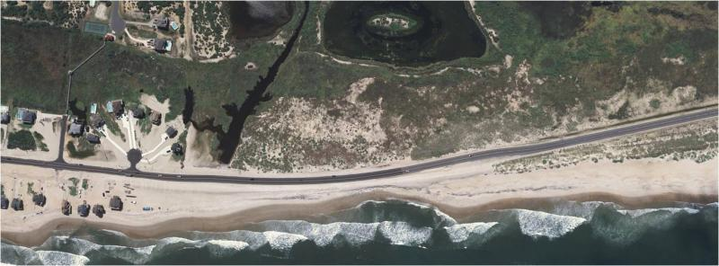 Overhead shot of the most battered stretch of N.C. 12 before Superstorm Sandy