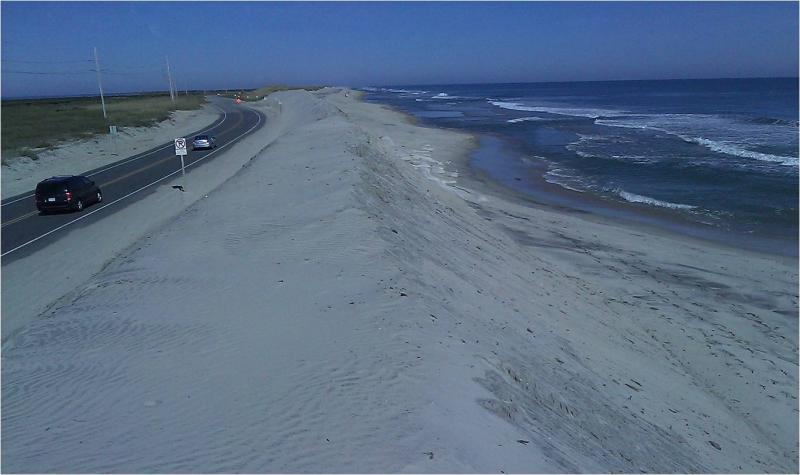 Massive sandbag structures are built to look like dunes along N.C. Highway 12. This photo is from before Sandy