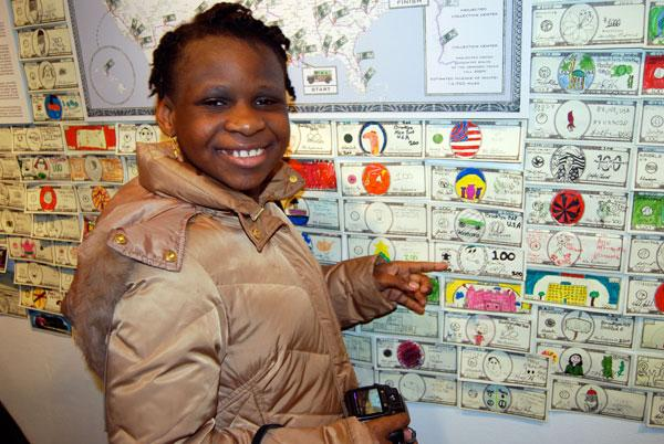 A student with 'Fundred Dollar Bills.'