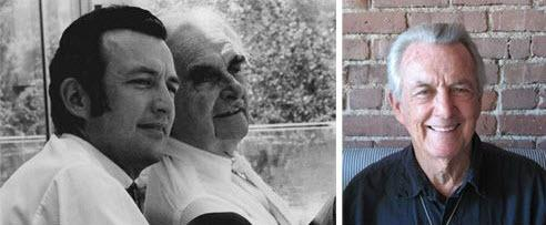 Dion Neutra with his father Richard Neutra then and Dion Neutra now.