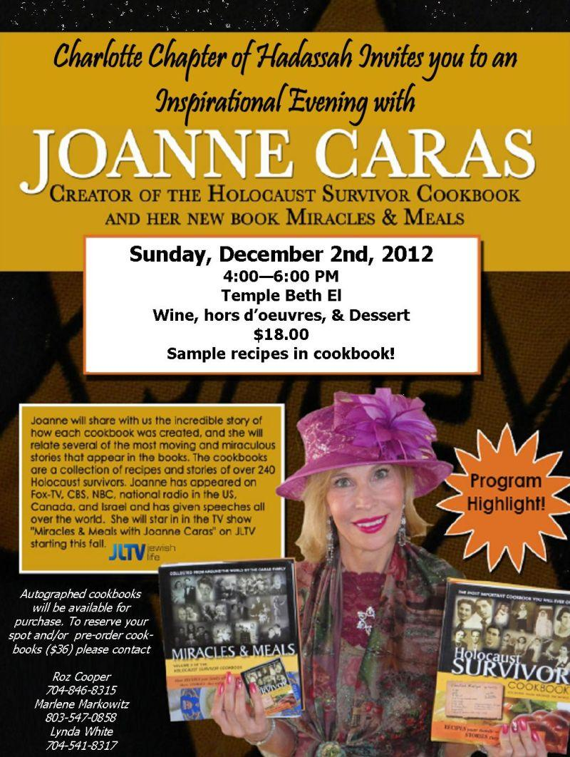 Details about Joanne Caras' appearance in Charlotte. Click image to enlarge.