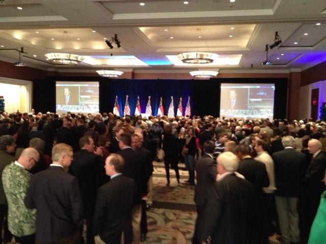 Supporters waiting for Governor-Elect Pat McCrory at the Westin in Charlotte