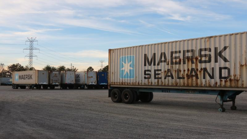 The container yard at Bridge Terminal Transport in Charlotte, which handles Maersk cargo.
