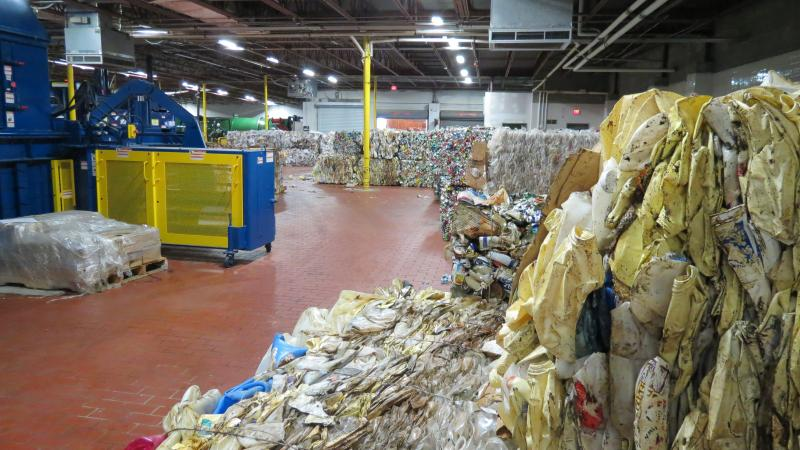 Recycled material is crushed, baled and sold for cash. The airport splits the revenues with a private company hired to handle the recycling operation.