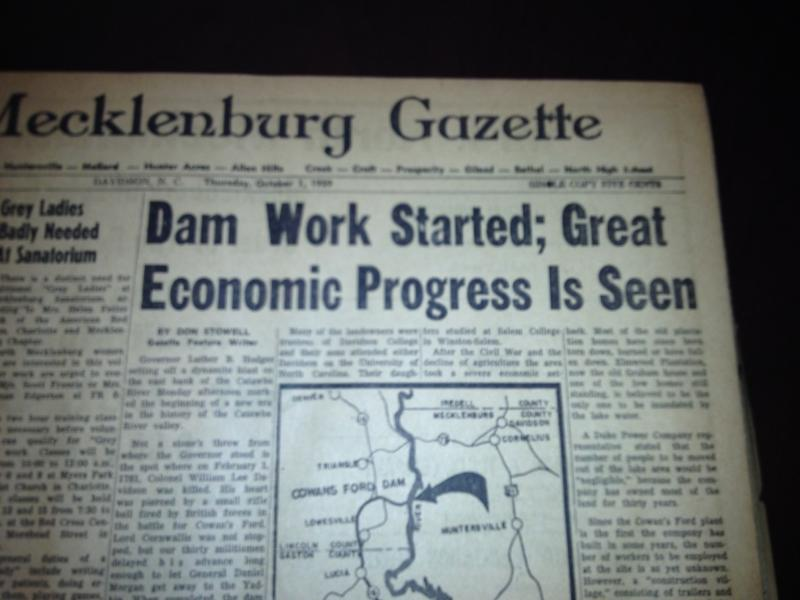 Front page of The Mecklenburg Gazette on Oct. 1, 1959.