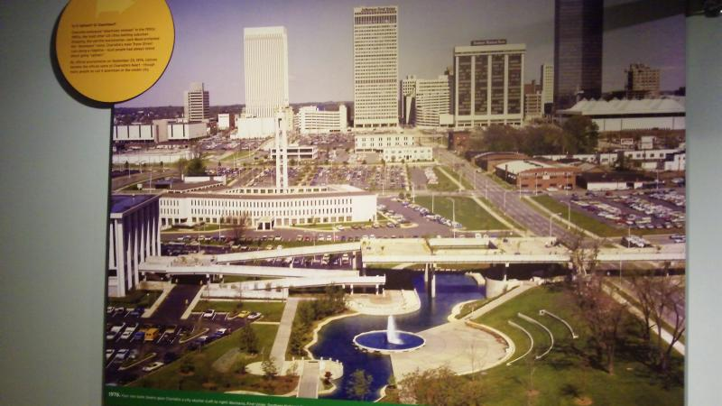 "A photo at the Levine Museum of the New South shows what Charlotte's ""uptown"" looked like in the 1950s."