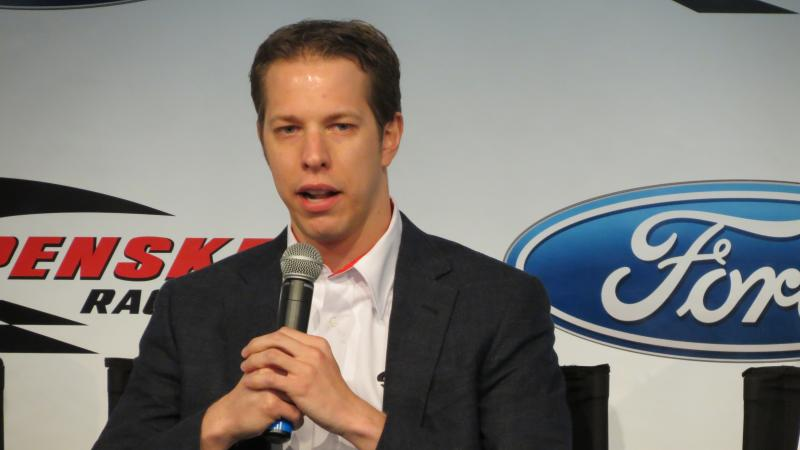 Brad Keselowski talks to reporters during the Sprint Media Tour