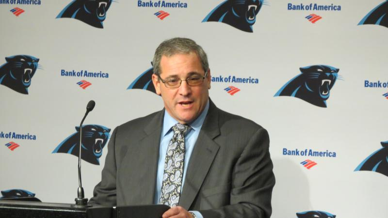 Dave Gettleman addresses the media in Charlotte for the first time as Panthers' general manager.