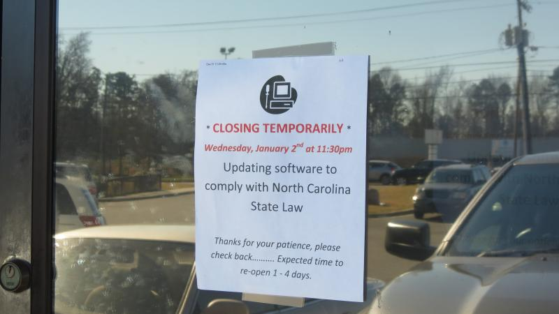 The sign on a closed sweepstakes parlor on Eastway Drive in Charlotte