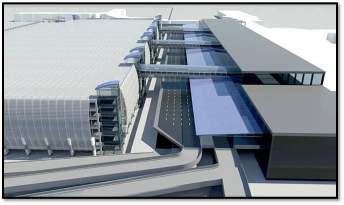 Artist's rendering of new hourly parking deck under construction adjacent to the Charlotte Airport terminal.