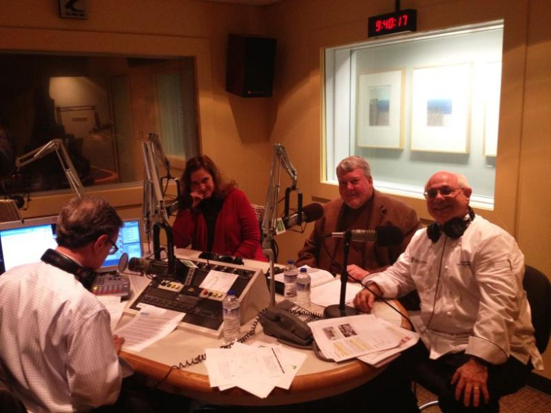Live in the studio with Molly O'Neill, Bruce Hensley, Peter Reinhart and Helen Schwab (not pictured - she must protect her anonymity!)