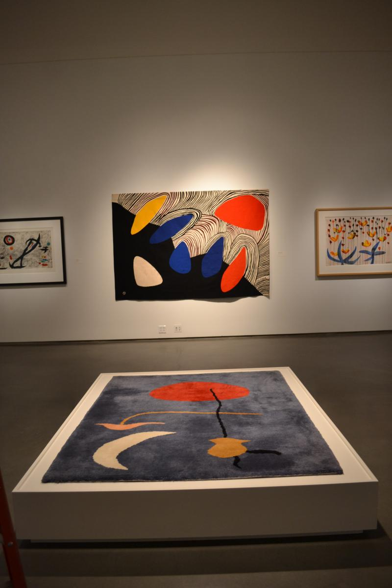 Above: Alexander Calder, Glacier with Coloured Petals, Wool on linen and cotton, 1971  Below: Joan Miró Danseuse Espagnole (Spanish Dancer), Wool and cotton, ca. 1962